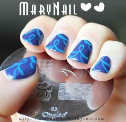 Stamping nail art avec la plaque m63 de chez Ongléo. j'adore <3